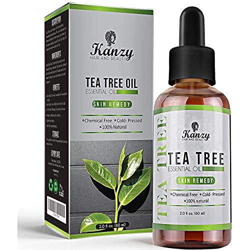 Kanzy Aceite Arbol del Te 60ml Natural Tea Tree Oil Perfecto Tratamiento para Cara, Cuerpo, Piel y Cabello Aceite Esencial Arbol te Bio