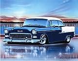 1955 Chevy Bel Air 2 Door Hardtop Hot Rod Car Art Print Blue & White 11x14 Poster