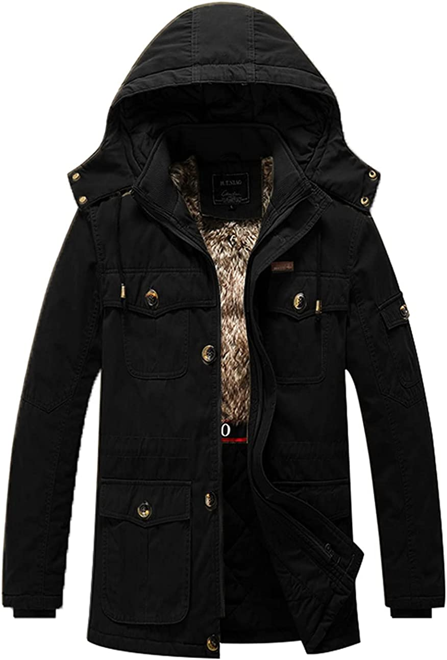 USDBE Men Thicken Warm Cotton-Padded Fleece Jackets Outwear Parka Coats Snow Clothing