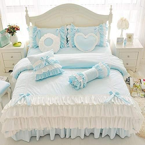 TYDH 42Purple Blue Korean Princess Girl Fleece Fabric Bedding Set White Ruffle Bow Duvet Cover Flannel Velvet Bed Skirt Pillowcase 3 Heart shape pillow