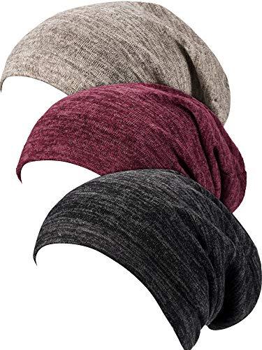 3 Piezas de Gorro de Dormir Satinado Gorra Encorvada Sombrero para Mujeres (Línea Negro, Línea Rojo Vino, Línea Gris)