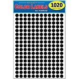 Pack of 1020 1/2' Round Color Coding Circle Dot Labels, Solid Black, 8 1/2' x 11' Sheet, 0.5 in, Fits All Laser/Inkjet Printers…