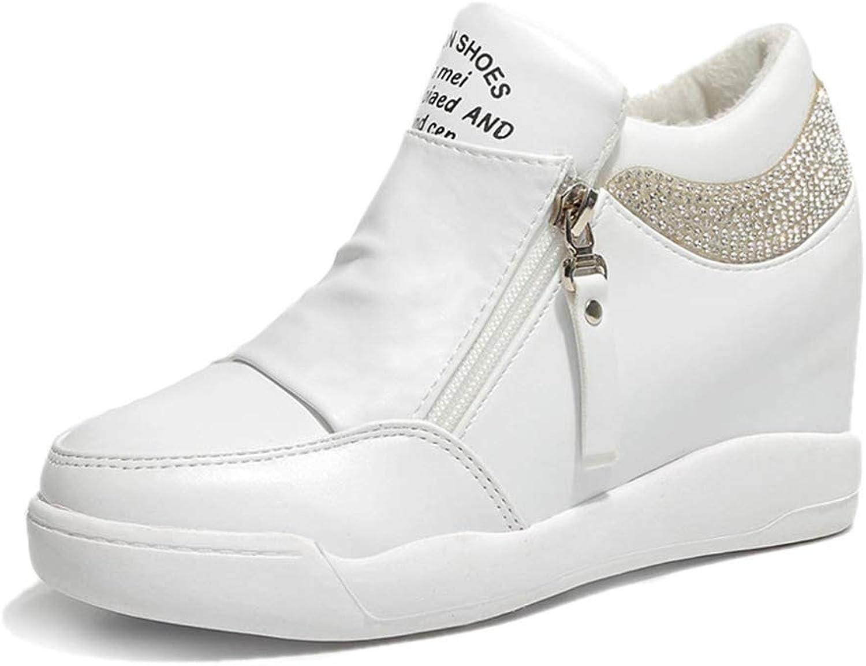 Hoxekle Women Casual shoes Height Increasing Platform Sneakers Wedges shoes Woman Fashion Sneakers Zip Walk shoes
