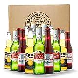 BEER HAWK 15 Bottle Premium Lager Party Pack - 5 bottles each of the popular brands Budweiser, Stella Artois and Corona - 15 x