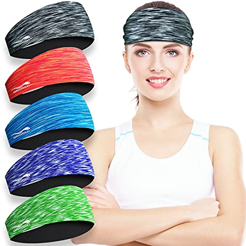 Headbands Sweatbands for Women - Womens Absorbent Workout Headband - Comfortable Nonslip Hair Sweat Bands Headbands - Sport Head Bands Hairband Sweatband for Gym Yoga Running Fitness Exercise