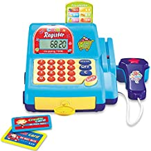 YYoomi Pretend & Play Calculator Cash Register with Scanner and Credit Card, Classic Counting Toy, Ages 3+ ShoppingTime