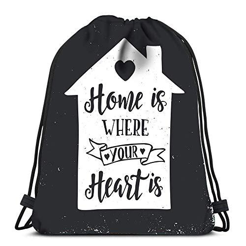 Sporttasche Gym Kordelzug Rucksack Romantische Zitat Tasse Ich Folge dir überall Travel College Rucksack Leichte Schulter