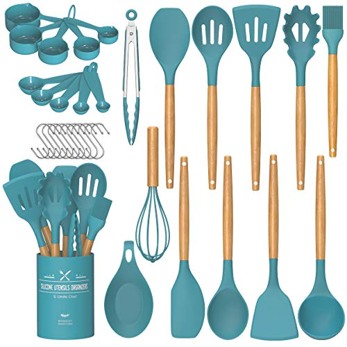 Umite Chef Kitchen Cooking Utensils Set, 24 pcs Non-stick Silicone Cooking Kitchen Utensils Spatula Set with Holder, Woodle Handle Heat Resistant Silicone Kitchen Gadgets Utensil Set(Dark Blue)