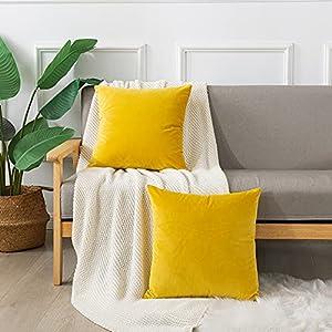 Emooqi Cojines Terciopelo para Sofa, 45x45cm Decoración Cuadrado Fundas de Almohada 2 Piezas Funda Cojin para Cojines para Dormitorio y Sala de Estar Terciopelo Funda de Cojine 18''x18'' -Amarillo