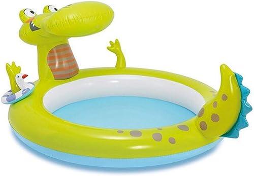 GKPLY Crocodile Splash Pool - Aufblasbarer Pool für Kinder Aufblasbarer Pool für Badezimmer Rutschenpool Strandgarten Familien- pool