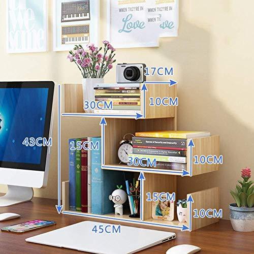 AOLI Legno Desktop Scaffale, assemblati controsoffitto Libreria Letteratura Holder Accessori Espositore Ufficio Supplies Desk Organizer-teck Colore 45X17X43Cm (18X7X17Inch),Noce chiaro,45 * 17 * 43 c