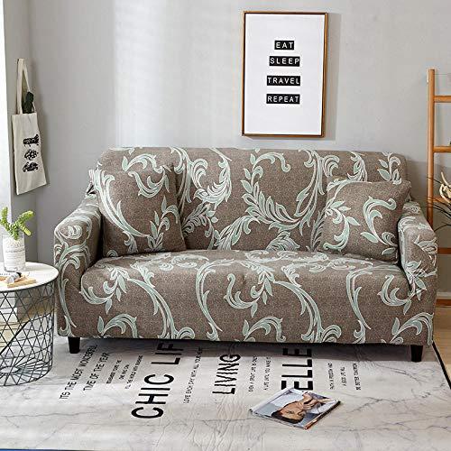 Elastischer Sofabezug Europäische Blume Bedruckte Pattern Sofabezüge Braun 3 Sitzer Antirutsch Stretchhusse Sofahusse Couchhusse mit 2Kissenbezug,für L Form Sofa Couch Sessel (195-230cm)