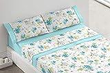 Burrito Blanco Juego de Sábanas 686 con Diseño de Flores para Cama Individual de 90x190 hasta 90x200 cm/Juego de Cama 90, Color Azul