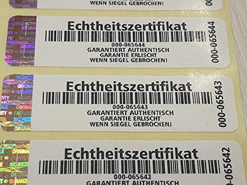 Holomarks 250 Stück Echtheitszertifikat Etiketten mit Seriennummern und Hologramm 70x20mm Certificate of Authenticity GERMAN TEXT
