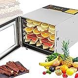Deshidratador de alimentos Mxmoonant, 6 bandejas, todo acero inoxidable, 35-75 ℃, 12 horas de tiempo, 35 L para hierbas, té perfumado, cecina, chips de frutas (digital)