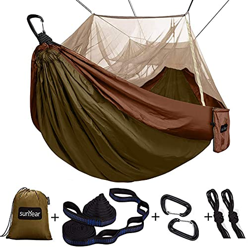 Single & Double Camping Hammock with Mosquito Net, 10ft Hammock Tree Straps & Carabiners   Easy Assembly   Portable Parachute Nylon Hammock for Camping, Backpacking, Survival, Travel & More