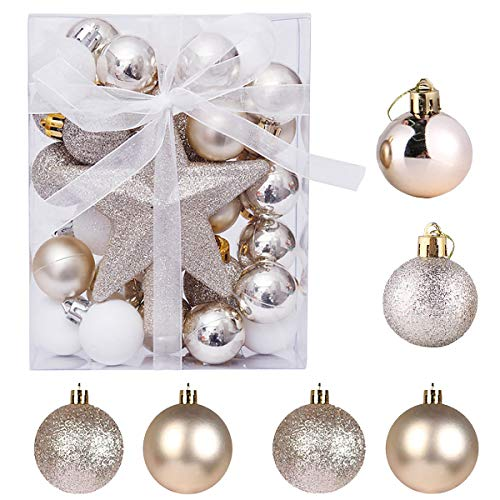 Senteen Palline Natale Dorate, 30pcs Palline Albero di Natale Dorate Champagne Pallinr Natalizie Piccole Sfere per Albero di Natale per di Natale Matrimonio E Festa