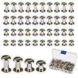 Chicago Screws,LANMOK 120 Sets 5mm Silver Chicago Buttons Assorted Kit Screwing Fasteners Metal Accessories for DIY Crafts Leather Belts Bookbinding