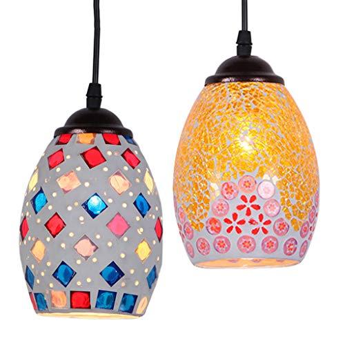 Amuzocity 2pc Retro Style Mosaik Lampenschirm Bunte Decke Pendelleuchte