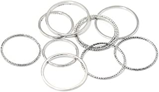10pcs / Set Midi Sottili Anelli Lega Banda Snodo Stacking Rings Comfort Fit Wedding Band Ring Set per Le Donne Ragazze