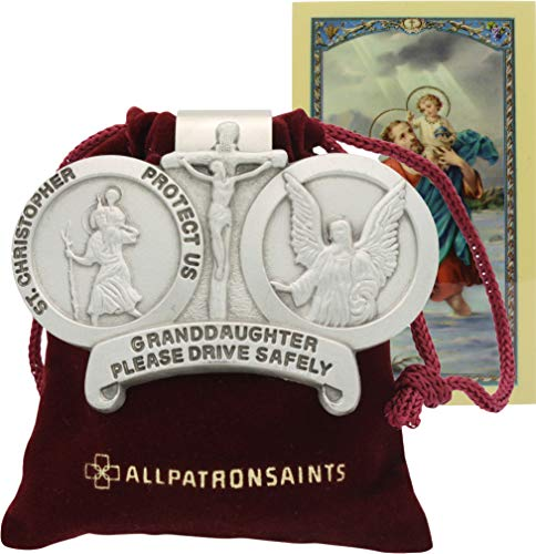 All Patron Saints St Christopher Granddaughter Drive Safely Auto Visor Clip