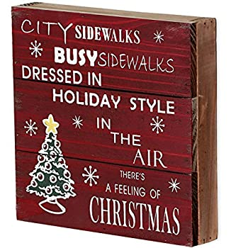 Rustic Christmas Sign Decor Wood Plaque Hanging Wall Art Sign 8  x 8  Primitive Christmas Box Sign Hanging Decoration Wooden Wall Decor Sign City Sidewalks Home Decor Accent  Xmas Sign B