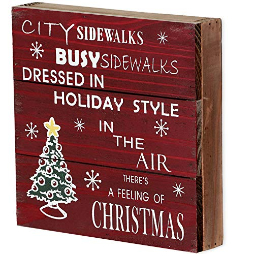 Rustic Christmas Sign Decor Wood Plaque Hanging Wall Art Sign, 8' x 8' Primitive Christmas Box Sign Hanging Decoration Wooden Wall Decor Sign City Sidewalks Home Decor Accent (Xmas Sign B)
