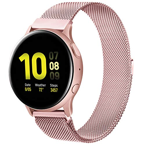 20mm Watch Metal Bands, Wristband Strap Compatible with Samsung Galaxy Watch Active & Active 2 (44mm/40mm) & Watch 3 41mm & Gear Sport for Women Men (Rose Pink, 20mm)