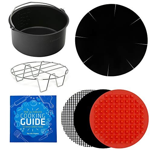 Air Fryer Power Accessories Compatible with Black and Decker, Bella, Chefman, Costway, GoWise, Secura, Posame, Zeny, Hamilton Beach +More   Baking Pan, Cooking Mats, Rack, Liner, Cookbook