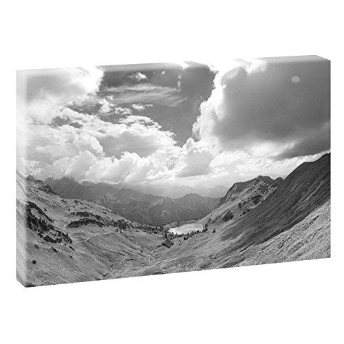 Bergpanorama | Panoramabild im XXL Format | Kunstdruck auf Leinwand | Wandbild | Poster | Fotografie | Verschiedene Formate und Farben (120 cm x 80 cm, Schwarz-Weiß)