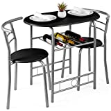 Best Choice Products 3-Piece Wooden Round Table & Chair Set for Kitchen, Dining Room, Compact Space w/Steel Frame, Built-in Wine Rack - Black/Silver