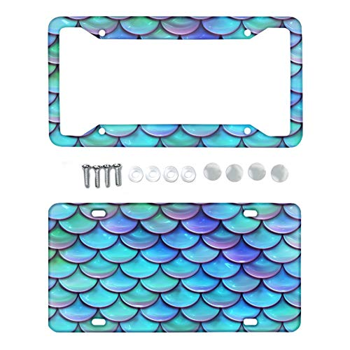 Belidome Blue Scale Car License Plates Frame + Cover Metal Auto Front Decorative Accessories with Screws for Standard Auto License Plates
