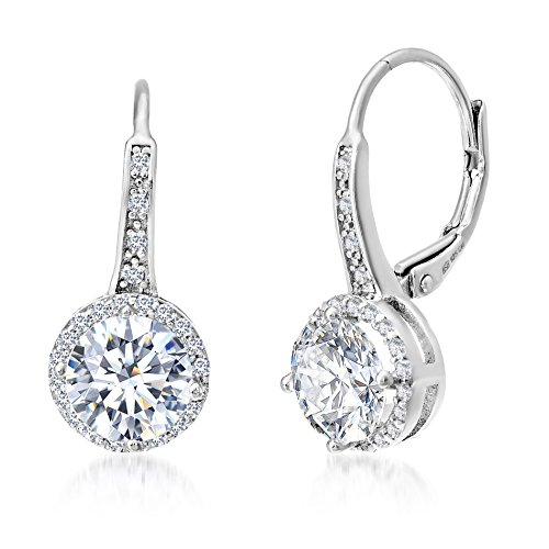 MIA SARINE Rhodium Plated Sterling Silver Cubic Zirconia Halo Leverback Dangle Bridal Earrings for Women for  White