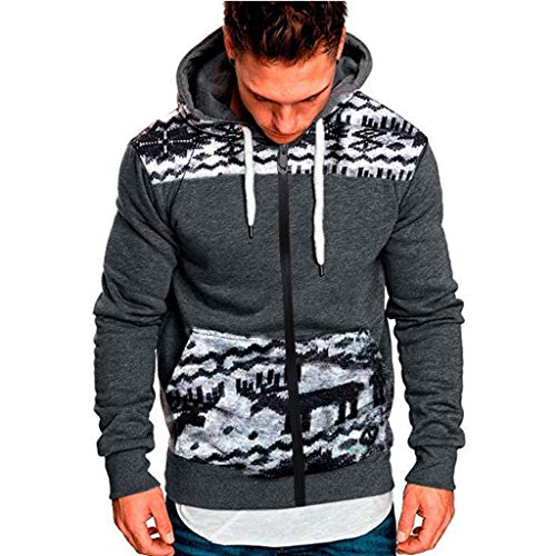 Men's Ugly Christmas Hoodies Zipper Reindeer Print Hooded Sweatshirts Novelty Black Winter Knitted Sweater Drawstring (Gray, 3XL)