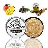 Champú Sólido de Cáñamo Y Mango, 55 gr | Hemp & Mango Bar Shampoo - Solo Ingredientes Naturales, Para Cabello Teñido, Dañado, Rizado, de Baja Porosidad - sin Sulfatos ni Parabenos ni Siliconas ni Sal