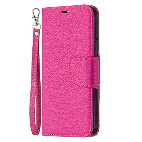 Carcasa para Samsung Galaxy M32, diseño de rosa roja, piel con tapa, imantada, ranuras para tarjetas y función atril, práctica y resistente a los golpes