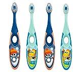 Jordan* | Step 2 | Cepillo de dientes para niños de 3 a 5 años | Cepillo de dientes para niños con cerdas suaves, mango ergonómico doble y sin BPA | Color azul y verde | Pack de 4 unidades