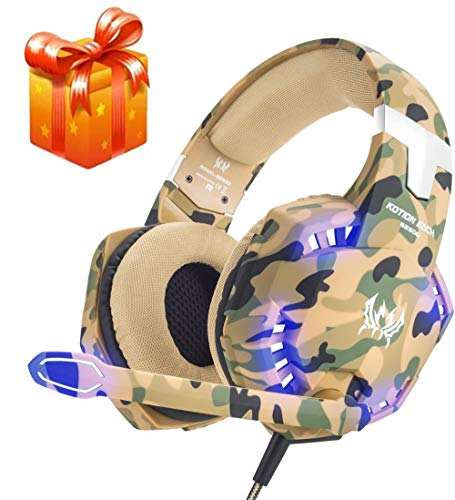 KOTION Each Camo G2600 Gaming Headset for PS4,PC,Xbox One,Professional Noise Lsolation, Over Ear Headphones with Mic,LED Light,Bass Surround,Soft Memory Earmuffs,Gaming Headphones-Camo