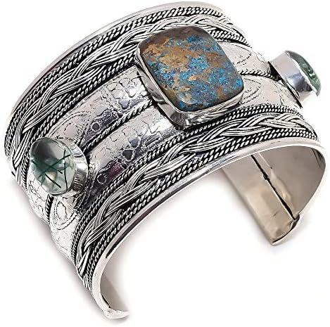 YUVI Azurite, Green Rutile .925 Silver Jewelry Cuff Bracelet Adj