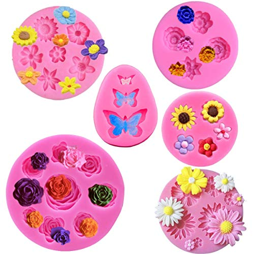 Flower Fondant Cake Silicone Mould Flower and Butterfly Candy Molds - for Cake DecorationChocolate Fudge Polymer Clay Soap Confectionery Projects
