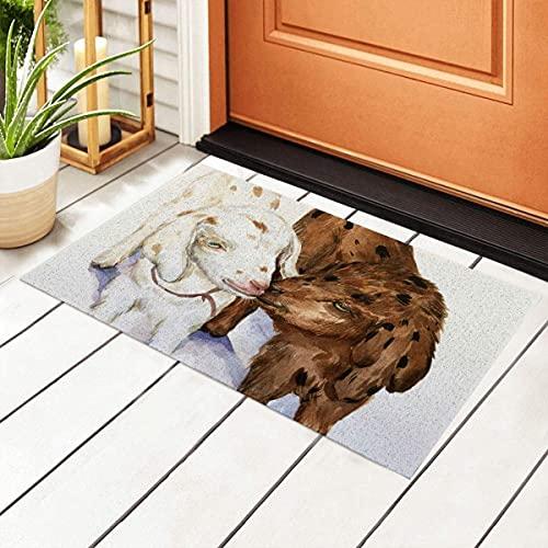 FFLSDR Felpudo Dos Lindos caprinos manchados Zapatos de PVC Alfombra Antideslizante Alfombra de Bienvenida Alfombra de Entrada 40X60CM