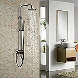 Lujoso ducha bañera juego de ducha de lluvia grifo de ducha broze frotado con aceite con ducha de mano negro expuesto