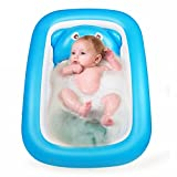 Starter Bañera de bebé inflable, Topist Piscina de aire portátil Mini Kid Infant Toddler Gruesa de ducha plegable con cojín suave Asiento central
