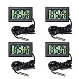 Lote de 4 termómetro digital LCD para acuario, termómetro digital con sonda impermeable para acuario, terrario y vivario.