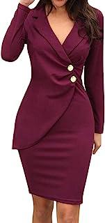 ESAILQ Abito Donna Abito da Lavoro Casual alla Moda con Bottoni Manica Lunga Bavero Tinta Unita Vestiti Donna Eleganti