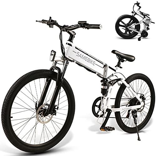 Bicicleta Electrica Montañade 26 Pulgadas, Mountain Bike Motor de 500W con Batería Extraíble de 48V 10 Ah, Bicicletas Eléctricas Plegables con Instrumento LCD Central & Autonomía Buena,White