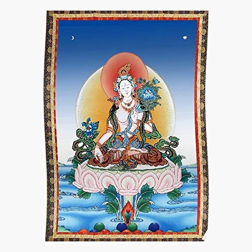 Tattoo Tara White Thangka Tibetan Oriental Tibet Cool El póster de decoración de interiores más impresionante y elegante disponible en tendencia ahora
