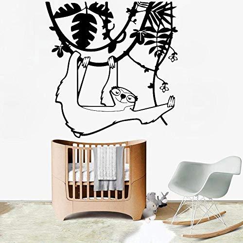 Cartoon Faultier Baum Wandtattoo Babyzimmer Kunst Dekoration Vinyl Kindergarten Innenwandaufkleber58x57cm