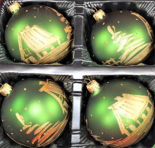 Weihnachtsbahnhof Set di 4 Decorazioni per Albero di Natale, 10 cm, Palline Verdi, Oro, Paesaggio Invernale, Lauscha Dipinto a Mano in Vetro soffiato