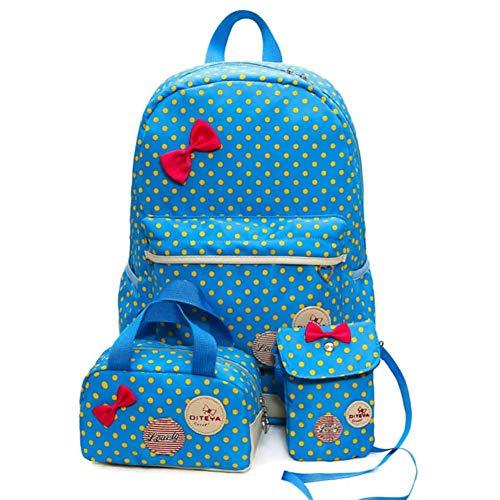 Schulranzen Mädchen Schulrucksack Mittelschule Schultasche Rucksack Kinder Daypack 3 Teile Set für Schule und Freizeit Satchel Wandertasche